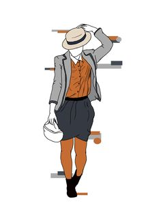 Quirky Class; Carrying the Summer color blocking trend into fall, the bright #bullheadblack #pacsun skinny jeans add the 'wow!' of colored tights, but with more protection from the elements for Fall and Winter. A neutral blazer and collared shirt keep it classy, while a flowing skirt and boots add a quirky edge.  These are original drawings by Madelyn Riehl (Gizmoa)