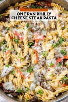 French Delicacies Essentials - Some Uncomplicated Strategies For Newbies This One Pan Philly Cheesesteak Pasta Is A Meal That The Whole Family Will Love. It Cooks In One Pan For Easy Clean Up, Making It Perfect For Busy Nights. Side Dish Recipes, Pasta Recipes, Beef Recipes, Chicken Recipes, Dinner Recipes, Cooking Recipes, Dinner Ideas, Beef Meals, Hamburger Recipes