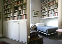 Guest room on demand! White traditional Murphy bed bookshelf hide-a-way hidden wall bed reading guest room. Cama Murphy, Murphy Bed Ikea, Murphy Bed Plans, Murphy Bed Bookcase, Bookshelf Bed, Bookcases, Hidden Wall Bed, Murphy Bed Hardware, Bed Company