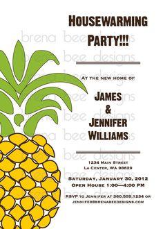 Pineapple Housewarming Invitation Custom by brenabeedesigns, $10.25