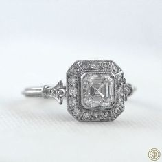 Sweet baby Jesus this is gorgeous. Vintage Asscher Cut Diamond Engagement Ring - Diamond Halo - 1.01 carat - GIA - VS1 clarity - G color - Estate Diamond Jewelry
