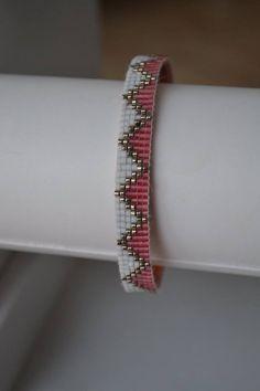 Bracelet manchette rigide en Perles Miyuki délicat 11/0 Couleur : Argenté, Rose et Blanc