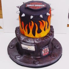 harley davidson inspired corporate cake