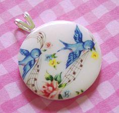 Charming bluebird pendant, from Miss Bluebird and Oscar on Etsy. Bird Theme, Pretty Box, All Birds, China Painting, Bird Art, Bird Feathers, Beautiful Birds, Blue Bird, Tattoo Inspiration