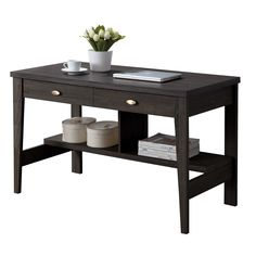 CorLiving Folio Black Espresso Two Drawer Desk