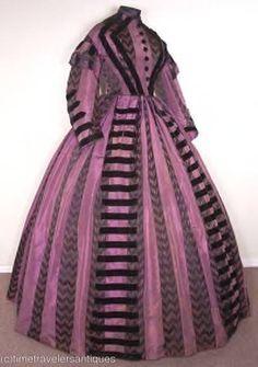 black & purple striped brocade taffeta with black velvet trim