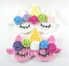 Unicorn Sleep Mask- Unicorn Crochet Pattern- Sleepover Party Favors- Unicorn Party Favor- Crochet Sleep Mask- Crochet Unicorn