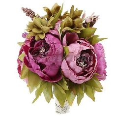 Wedding Bouquet Bride Bridesmaid Hand Holding Flower Artificial Purple Peony