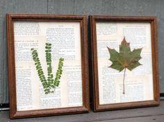 Fotografías y enlaces a diferentes páginas con guirnaldas, cuadros y otros objetos realizados con hojas secas.