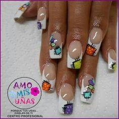 Funky Nail Art, Crazy Nail Art, New Nail Art, Cute Nail Art, Cute Nails, Pretty Nails, My Nails, Heart Nail Designs, Beautiful Nail Designs