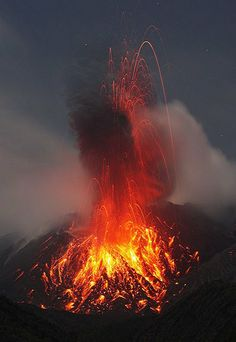Beautiful picture of the volcano Sakurajima, Japan