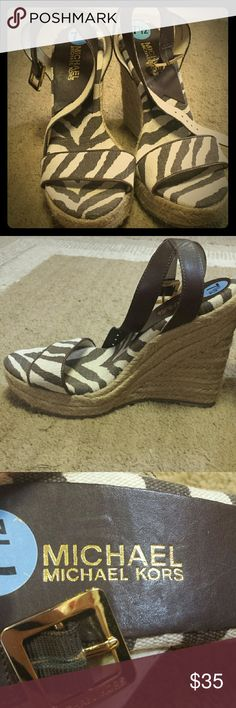 Michael kors wedges Brown and beige striped wedges Michael Kors Shoes Wedges