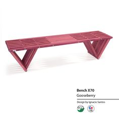 "Bench X70 Gooseberry The Bench X70 is stylish and sturdy. The natural wood grain makes this piece a stunning addition to any décor. The triangles, which look like inverted pyramids, give the X70 a bold and modern appearance. The Bench X70 is handmade in the USA from stainless steel and American Premium Yellow Pine wood. The high quality stain finish protects the wood from rain, humidity, and the sun. Dimensions when set up: L 72 x W 18 x H 17"" Weight: 42 pounds"