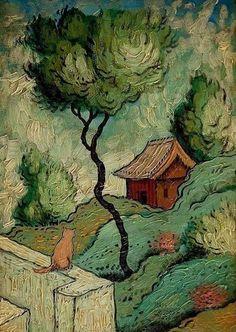 Sketchbook Inspiration, Painting Inspiration, Art Inspo, Arte Van Gogh, Van Gogh Art, Landscape Art, Landscape Paintings, Naive Art, Painting & Drawing