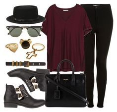 """""""Style #9017"""" by vany-alvarado ❤ liked on Polyvore featuring mode, Topshop, Zara, River Island, Deena & Ozzy, Yves Saint Laurent et Ray-Ban"""