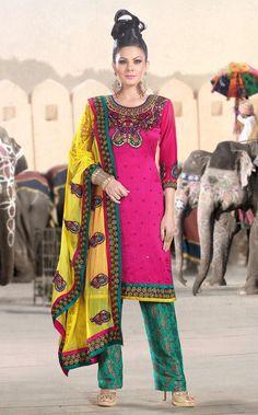 Pink Full Sleeve Faux Georgette Knee Length Punjabi Salwar Kameez 18300