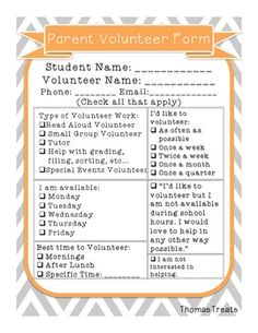 Free Parent Volunteer Form