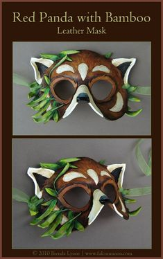 A commission for xiongmao on FA of a red panda with bamboo in the style of my Leafy Cat mask. There's an extra white mark on the forehead since the character has one. Hand carved and shaped from 7-...