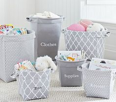 Gray Canvas Storage Bins