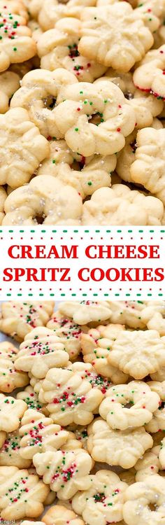 Easy Cream Cheese Spritz Cookies Recipe - made with a cookie press, soft, buttery, sweet and delicious! Very easy to make with minimal effort, perfect for the holidays or a party! via @cookinglsl