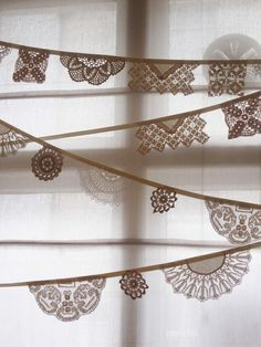 doily banner in brown or colours.