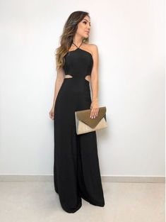 Macacao-Recoretes-Preto Simple Outfits, Trendy Outfits, Stylish Dresses, Fashion Dresses, Girl Fashion, Fashion Looks, Fashion Forever, Outfit Trends, Evening Outfits