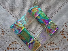 Dichroic fused glass pendant green and gold