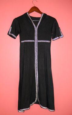 XXS XS Extra Small Vintage 70s LBD Black Hoodie Metallic Silver Lurex Trim Gothic Renaissance Fairy Dress