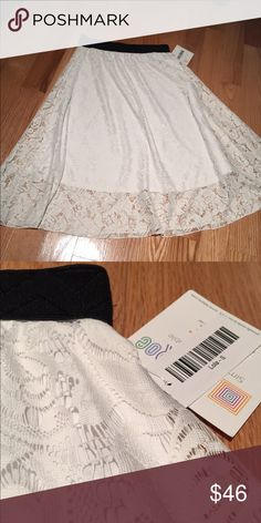 Lularoe Lola shirt Small nwt White lace lularoe Lola midi skirt size small net elegant yet flirty! Beautiful skirt! Bought it need a smaller size i bet it's a unicorn 🦄 LuLaRoe Skirts Midi