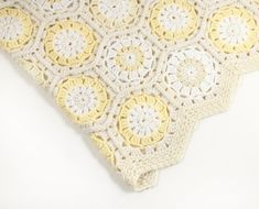 Crocheted Hexagon Blanket - Natural White, Cream, Pastel Yellow, Handmade Afghan, Crochet Hexagon, Granny Square Blanket, Lap Blanket, Throw