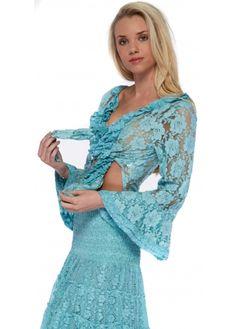 Antica Sartoria Turquoise Lace Tie Front Bell Sleeved Bolero