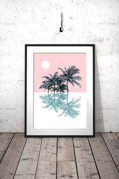 Palma árbol grabado, Pastel Arte Tropical Print, impresión de Palma, decoración de Pastel, estampados Pastel, rosa, Moderno minimalista, naturaleza arte, California imprimir