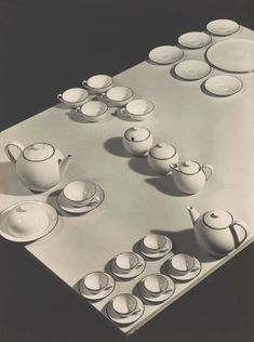 Josef Sudek (Czech, 1896-1976). Advertising photograph for Ladislav Sutnar porcelain set (with black rim), 1932.