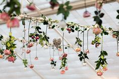 Hanging Flowers Reception Decor Pretty Floral Wonderland DIY Wedding http://www.victoriaphippsphotography.co.uk/