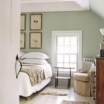 Subtle green wall color with white floors and light brown to beige furniture Green Rooms, Bedroom Green, Home Bedroom, Bedroom Decor, Bedroom Ideas, Peaceful Bedroom, Bedroom Inspiration, Bedroom Designs, Pretty Bedroom