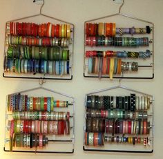 why didn't i think of that pants hanger ribbon storage. why didn't i think of that pants hanger ribbon storage. why didn't i think of that Ribbon Organization, Sewing Room Organization, Organization Hacks, Organizing Life, Craft Room Storage, Craft Rooms, Storage Ideas, Craft Ribbon Storage, Wrapping Paper Storage