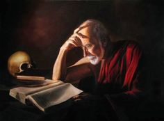 St. Jerome came from a wealthy family and was extremely well educated.  After a sinful youth, he lived a life of extreme penance and prayer.  The Holy Catholic Church respects him as a Father and Doctor of the Church.  He dedicated his life to the study of the languages of hebrew and Greek so as to be able to translate the Holy Bible correctly into Latin.
