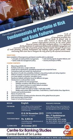 Two-day Programme on Fundamentals of Portfolio at Risk and Bank Failures  Two-day Programme on Fundamentals of Portfolio at Risk and Bank Failures