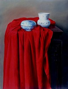 Wang Weidong | Still Life with Porcelain and Red Drape