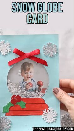 Carte de noel Get a free printable snow globe template to create your own DIY snow globe card. An easy handmade Christmas card idea for kids to help make! Preschool Christmas, Diy Christmas Cards, Christmas Crafts For Kids, Xmas Cards, Handmade Christmas, Holiday Crafts, Christmas Ornaments, Simple Christmas, Kids Snow Globe Craft
