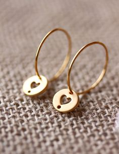 Gold OR Silver heart tag earrings.Gold Hoops,14kt Gold Filled,Sterling silver Hoops,Silver hoops,Gold heart,silver heart,valentine's day. $15.00, via Etsy.