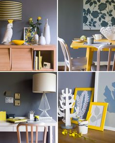 Great yellow accents for the kitchen!  Love the grey on the wall!