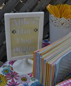 Some cute ideas- love the hot dog bar  puppy dog themed birthday party