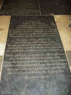 Jane Austin's gravestone in Winchester cathedral in Hampshire - UK Graven Images, Hampshire Uk, Old School House, Uk Trip, Grave Markers, Old Cemeteries, Little Island, England And Scotland, Do Not Fear