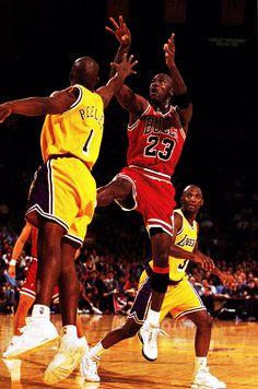 Michael Jordan and Anthony Peeler (Los Angeles Lakers)