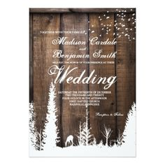 Rustic Wood Deer Pine Tree Wedding Invitations - wood wedding style nature diy customize personalize marriage