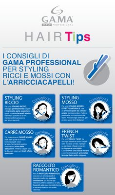 Gama Hair Tips: #infografica con i consigli di #GamaProfessional per lo #styling con il ferro #arricciacapelli! /// Gama hair Tips: #infographic with Gama's tips for perfect hairstyles with the #curlingiron! #gamaconsiglia #capelli #hair #irons #iron #curlingirons #curling #Gama #GamaItalia #beautytechnology #hairtips #tips #consigli #howto #tutorial #curly #wavy