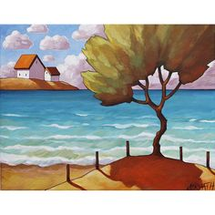 "Fine Art Print by Cathy Horvath 8.5""x11"" Modern Coastal Folk Art Giclee, Beach Tree, Seaside Summer Cottages Landscape Artwork Reproduction"