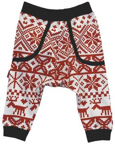 Fair Isle Trousers    Fab drop crotch trousers in our very own Fair Isle print  • 100% cotton  • Oeketex 100 standard (tested for harmful chemicals)  • white with red print  Price: £15.99