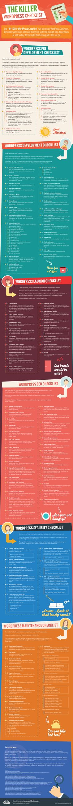 """""""The Killer WordPress Checklist Infographic"""" by Capsicum Mediaworks LLP is an awesome resource for any web designer building out an entire WordPress website from start to finish."""